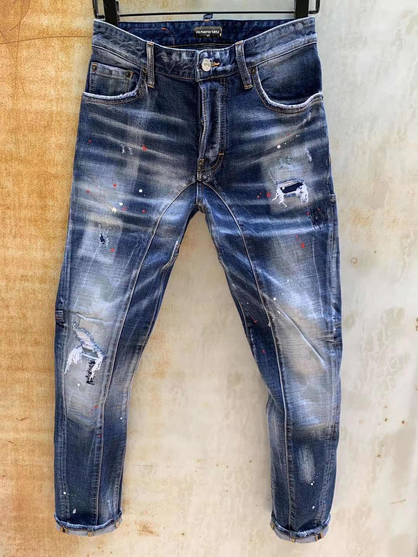 DSQ Jeans Mens de luxe Designer Jeans Skinny déchiré Cool Cool Causal Hole Denim Jean Mode Marque Fit Jeans Hommes lavés Pantalon 61277
