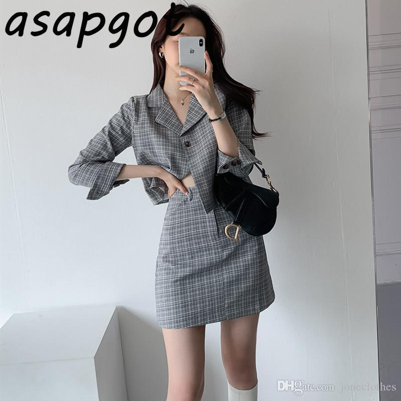 Coreano chique outono único-breasted xadrez blazer casaco curto slim alta cintura saia mini temperamento blazer e saia conjunto de moda