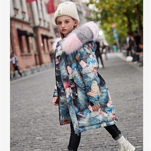 Зимние дети вниз пальто толще теплые ветрозащитные печать с капюшоном верхняя одежда реальный меховой воротник Parka детей вниз куртки девушки одежда 0930