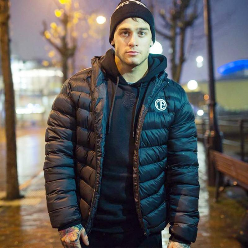 Winter Men's Hooded Sports Parka Black Warm Running Coat Thick Bodybuilding Jacket New Brand Fashionable Outwears Plus Size 2xl 201028