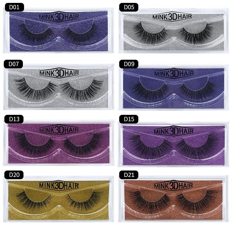 D Serisi için Güzellik Makyaj sahte Göz Lashes Uzatılması 1 çift 3D El yapımı Vizon Kirpikleri tek tek Doğal Yanlış Eyelashes
