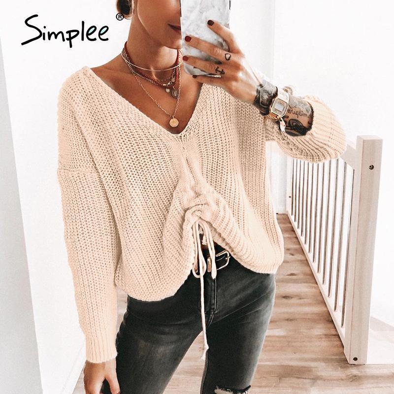 Le donne a maglia Lace Up Pullover Simplee signore Jumper Maglioni casuale allentata di grande misura Feminino Maglieria Maglione Solid