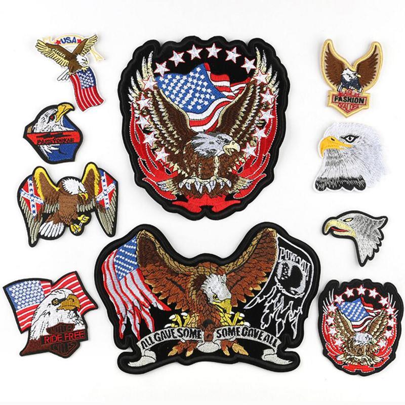 Eagle Forma Forma Ejército Combinación Insignia Punk Rock American Flag Big Bordery Patch Coser en el parche Patch Bordado Pegatina