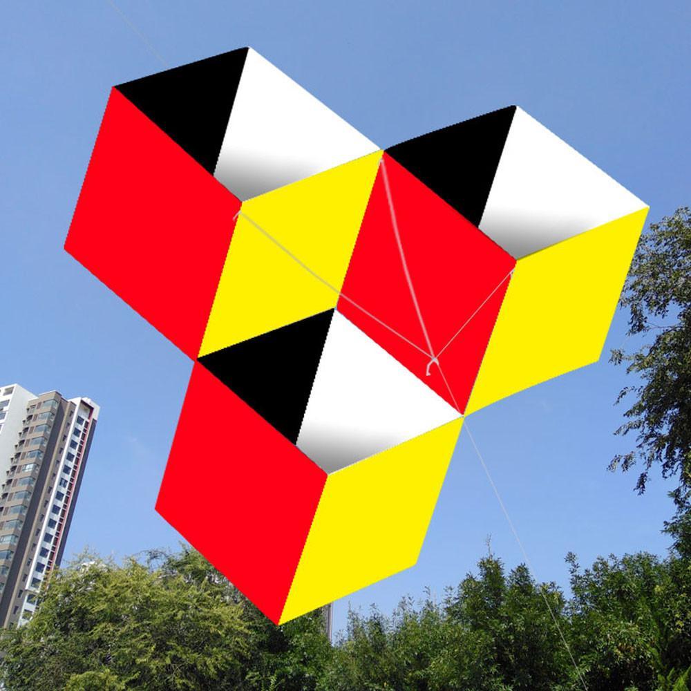 Açık Fun Sporları çocuklar 3D sihirli küp kutusu uçurtma Tek Hat İyi Uçan YENİ% 100 Yepyeni Polyester dropshipping 2020 YENİ 1018 için