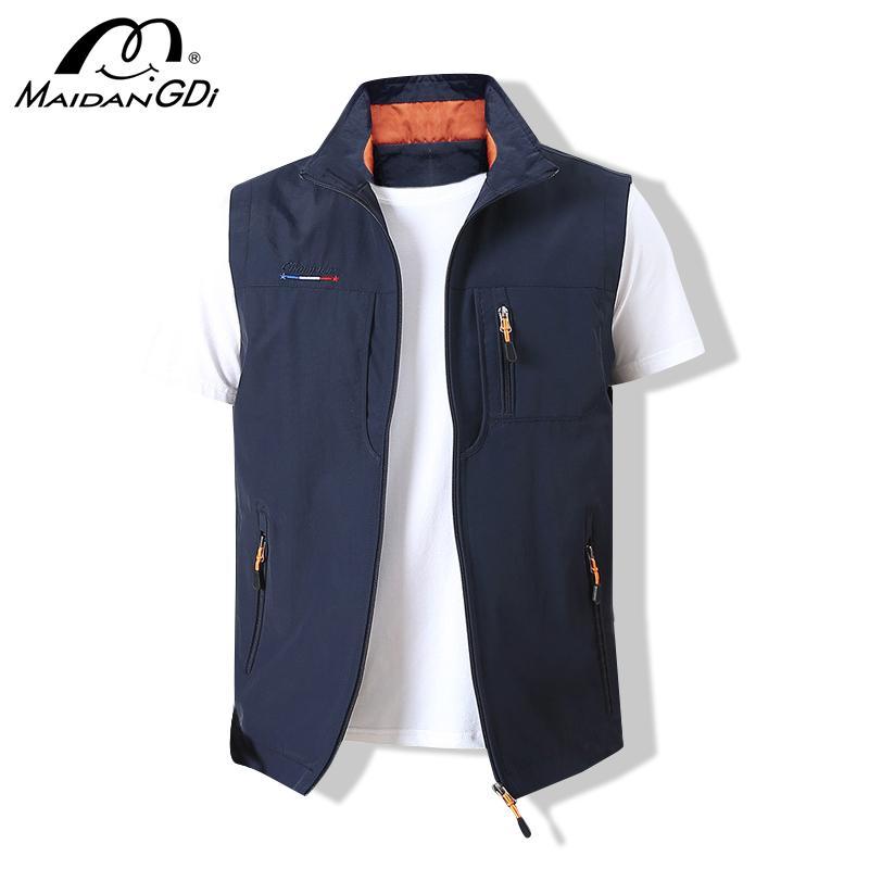 Скалолазание Maidangdi Men'swaistcoat куртки Стенд Vest 2020 Летний Новый воротник сплошной цвет Туризм Работа рукавов с карманом
