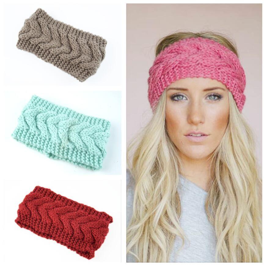 Moda kış Kız Örgü Bantlar Sıcak Tığ Elastik Saç Bandı El yapımı Turban Geniş Boyut Şapkalar Saç Aksesuarları hediye 32 Renkler