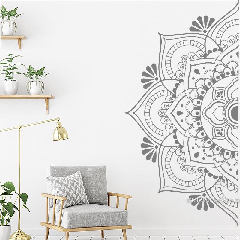 Schöne halbe Mandala Wandaufkleber für Schlafzimmer Datura Blumen Wandbilder Selbstklebende Wandtattoos Home Decor Vinyl Aufkleber LC1469 201201