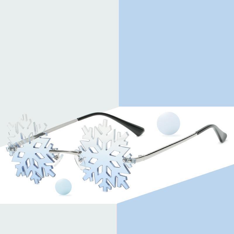 2021 Yeni Kar Tanesi Şekil Güneş Kadınlar Vintage Çerçevesiz Temizle Gözlük Erkekler Hollow Güneş Gözlükleri Shades UV400 Parti Gözlük