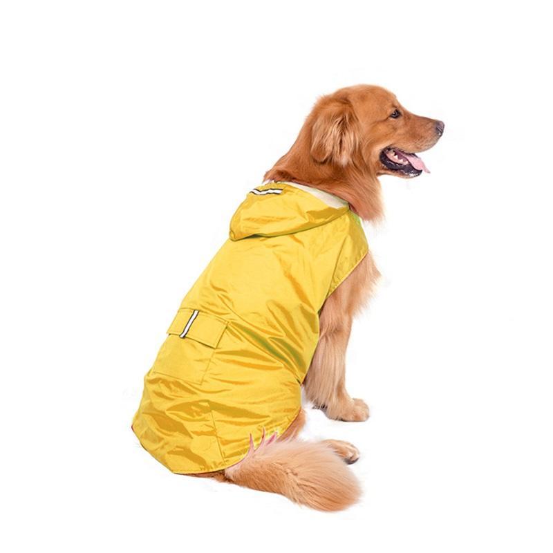 Pet Dog Raincoat Hound Hound Vêtements imperméables Grand Dogs Grille Solide Couleur Couleur Vêtements Accessoires Animaux De Pluie Sport extérieur Nouvelle arrivée 33dt G2