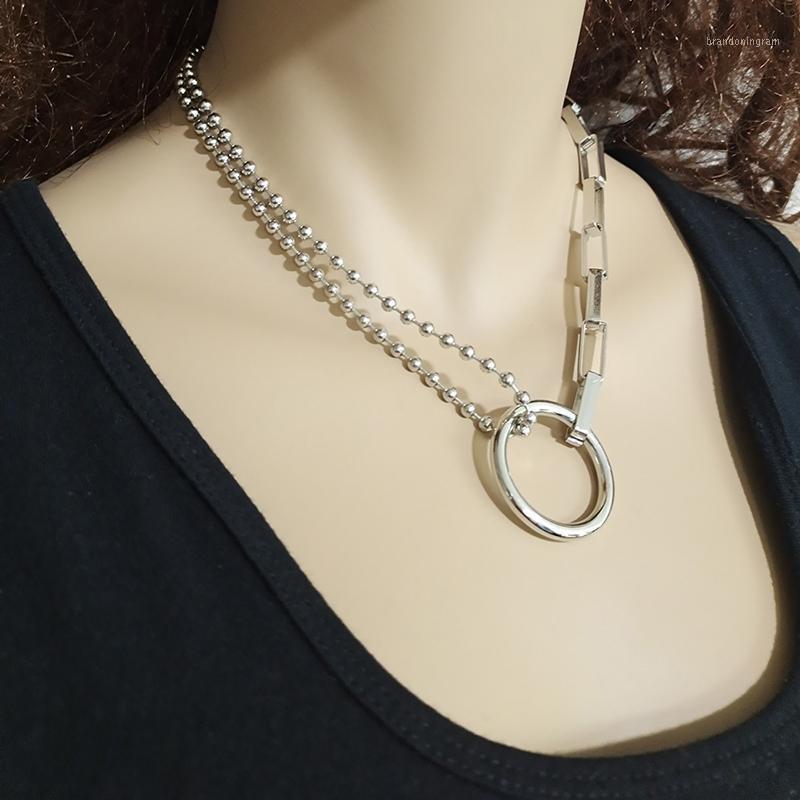1 шт. O Кольцо панк-хип-хоп многослойные бусины медальон кулон ожерелье цепи женщин1