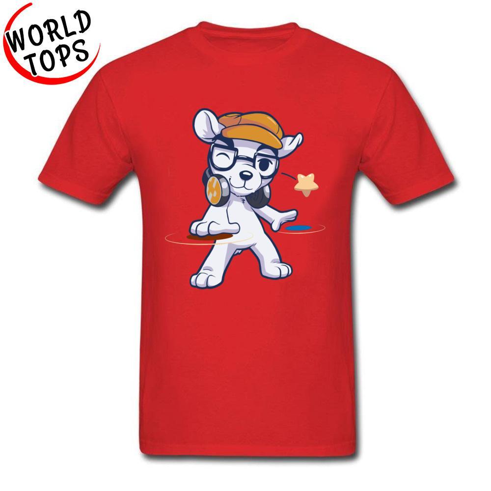 DJ Bass Rock perro T Shirts Amor de música personalizados Tees descuento grande de los hombres de la historieta de la camiseta de deporte de calidad superior Rojo Amarillo Sudadera con capucha