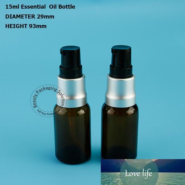 Alta qualità 15ml 10pcs / Lot Ambra pompa lozione di vetro dello spruzzo Bottiglie 1 / 2OZ Crema Vasi Split ricarica vasi vuoti contenitori cosmetici