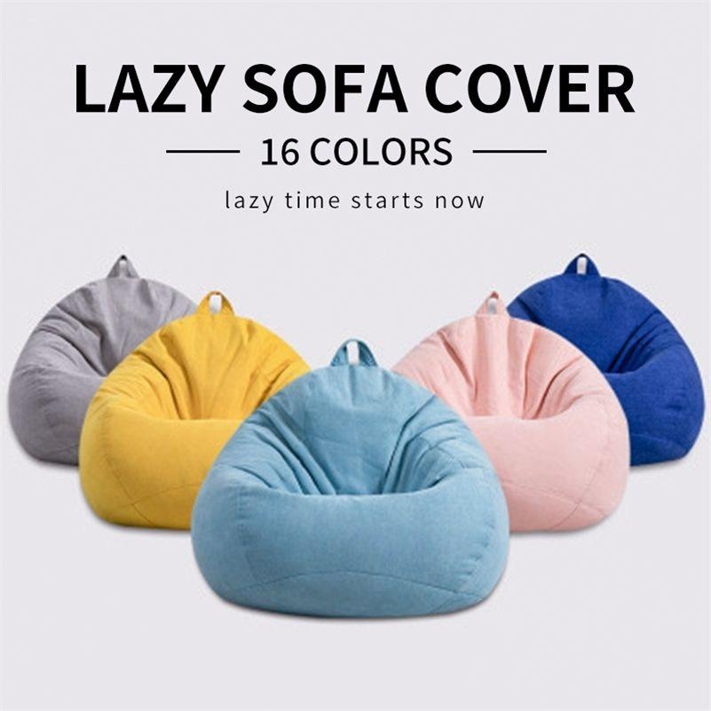 Meijuner Canapé de paresseux Couverture de chaise solide Sans remplissage / Sac de haricots intérieurs Pouf Couch Couch Tatami Salon Meubles Couverture LJ201216