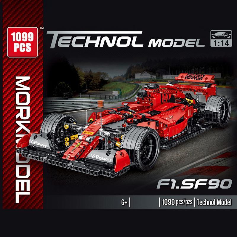 Serie Técnica 1100 unids Simulación F1 Racing Modelo de automóviles Bloques de construcción Creador Carrera Carrera Coches Ladrillos Juguetes para niños Niños Regalos de Navidad X0102
