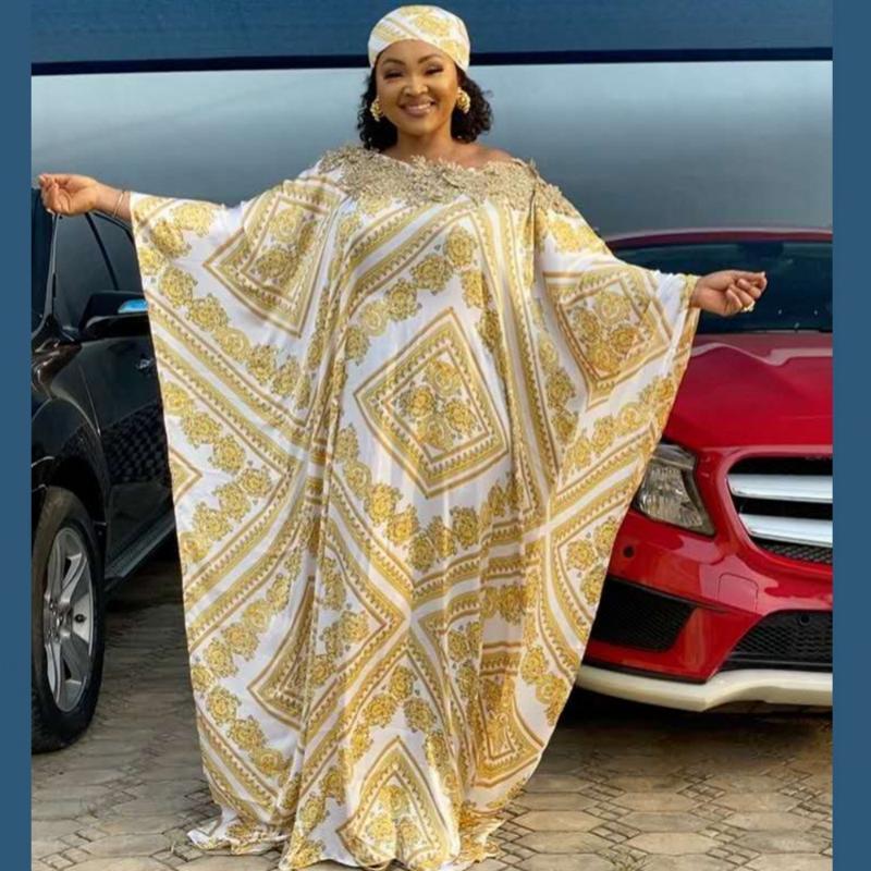 Super Size New African Frauen Dashiki Silk Art und Weise lose Stickerei langen Kleid African-Kleid für Frauen-Kleidung
