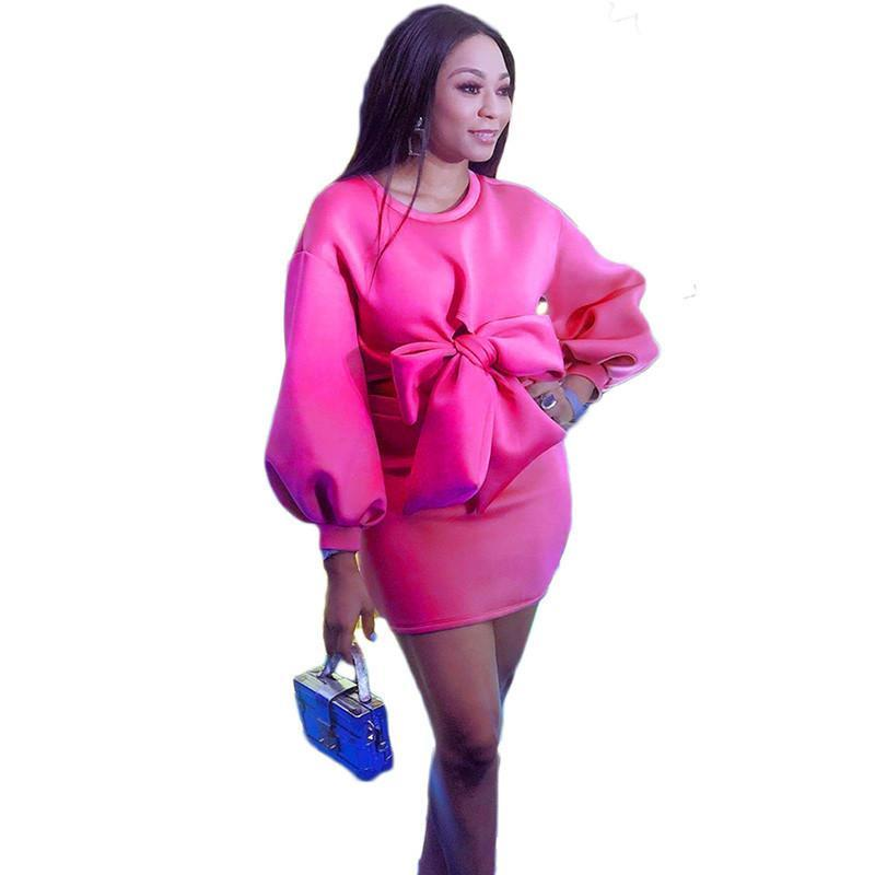 Élégant rose rouge molleton mini robe femme femme deux pièces robes lanterne manches hiver robe d'arc nœud sexy fête nuit club mini