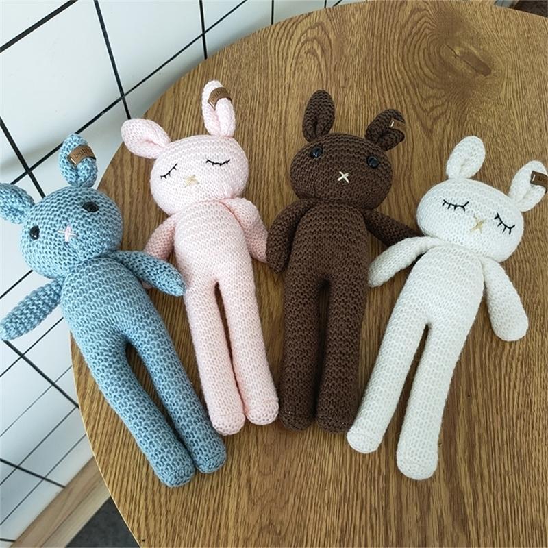 1 stücke 26cm Handgemachte Kaninchen Häkeln Wolle Puppe Wolle Tier Gefüllte Plüsch Spielzeug Baby Beruhigende Neugeborene Baby Fotografie und Täglich Spielzeug 201214