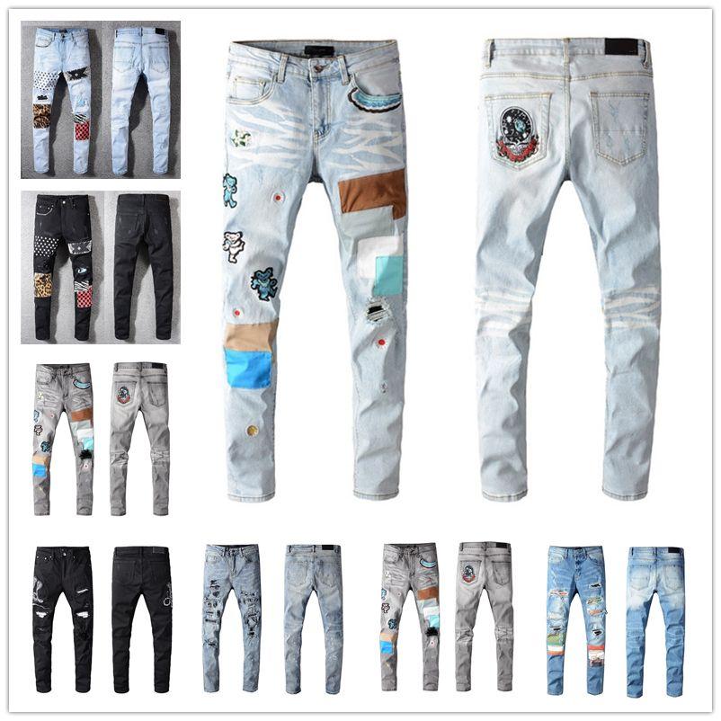 2021 Hot Homme Mode Skinny Droite Slim Découpé Jeans Hommes Mode Mens Street Porter Moto Biker Jeune Pants Jeans Taille 28-40