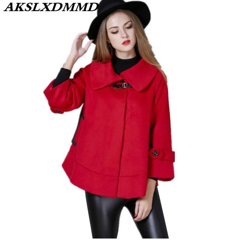 2020 Yeni Sonbahar Kış Kadın Yün Coat Sıcak Büyük Beden Gevşek Kadın Coat Katı Moda Trendy Yün Ceket Cloak Dış Giyim CW171