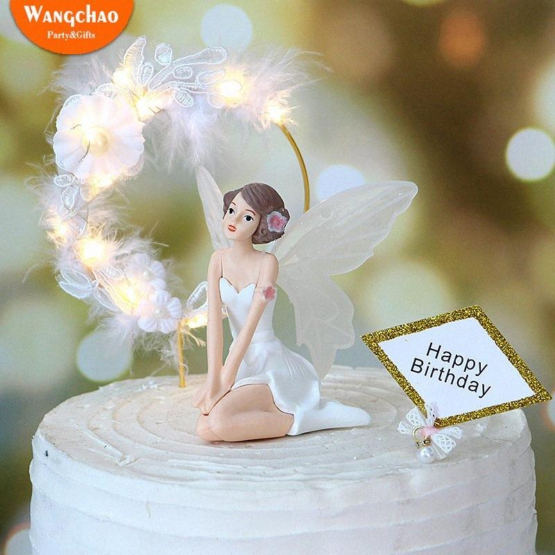 Anjo encantador feliz bolo de aniversário Topper Anjos atrativo com ferro Garland Lace Feather Romantic Wedding Cake Decoration PVoC #