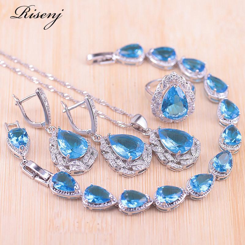 Risenj gota de água céu azul pedra prata cor para mulheres brincos anel colar pulseira conjunto de jóias nupciais