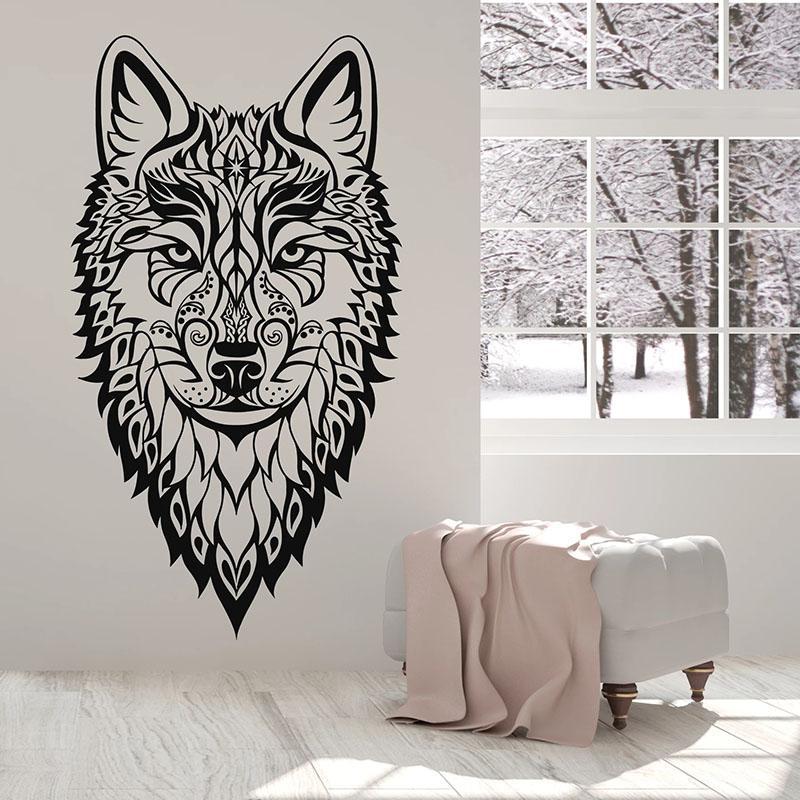 Cabeça do lobo Decalque Wild Animal étnico Ornamento Estilo Quarto caverna do homem Home Decor porta janela de vinil Wallpaper Art Adesivos