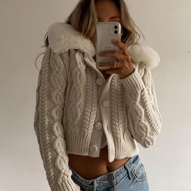Y2K Wool Cardigan Femmes Outfits Winter Feather Pochette Tricotée Pull à manches longues Pulls courtes Vêtements Femmes Streetwear