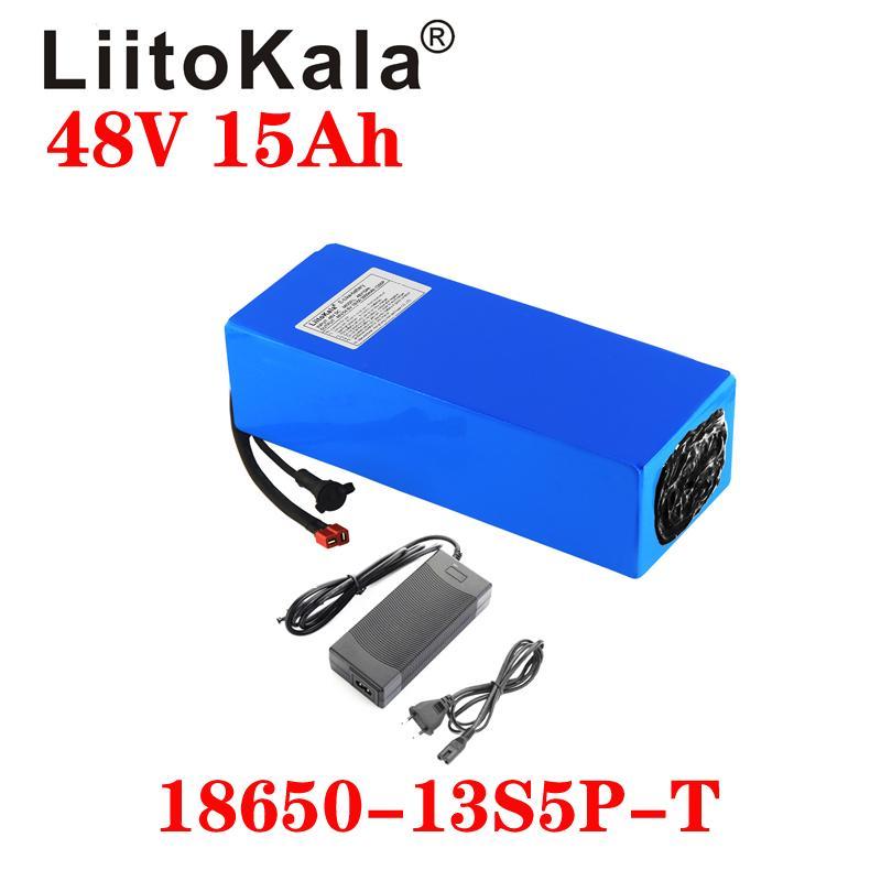Liitokala 48V 15Ah 18650 E-Bike Battery Battery Li Ion Battery Backicate Bicate Scoot Conversion Kit Bafang 1000W XT60 Plug 54.6V Зарядное устройство