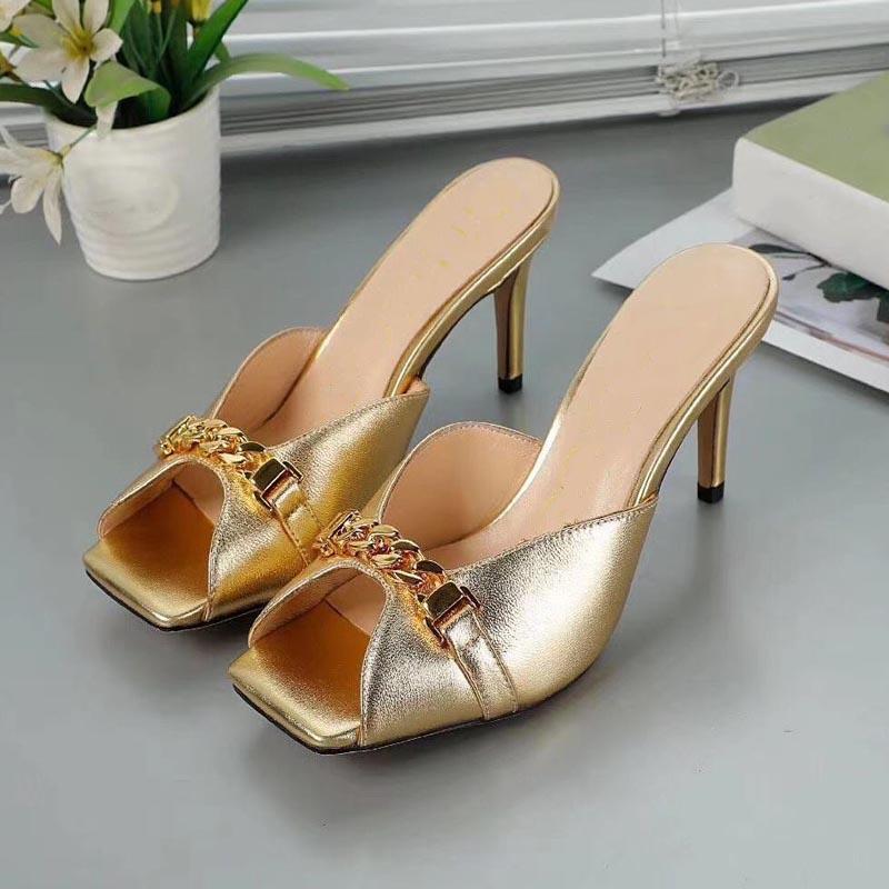 Kadın Tasarım Terlik Balık Ağız Açık Toe Altın Yüksek Topuklu Yaz Sandalet Deri Metal Kıyafet Xuan Bayan Ayakkabıları Ziyafet Kadın Yüksek Topuk