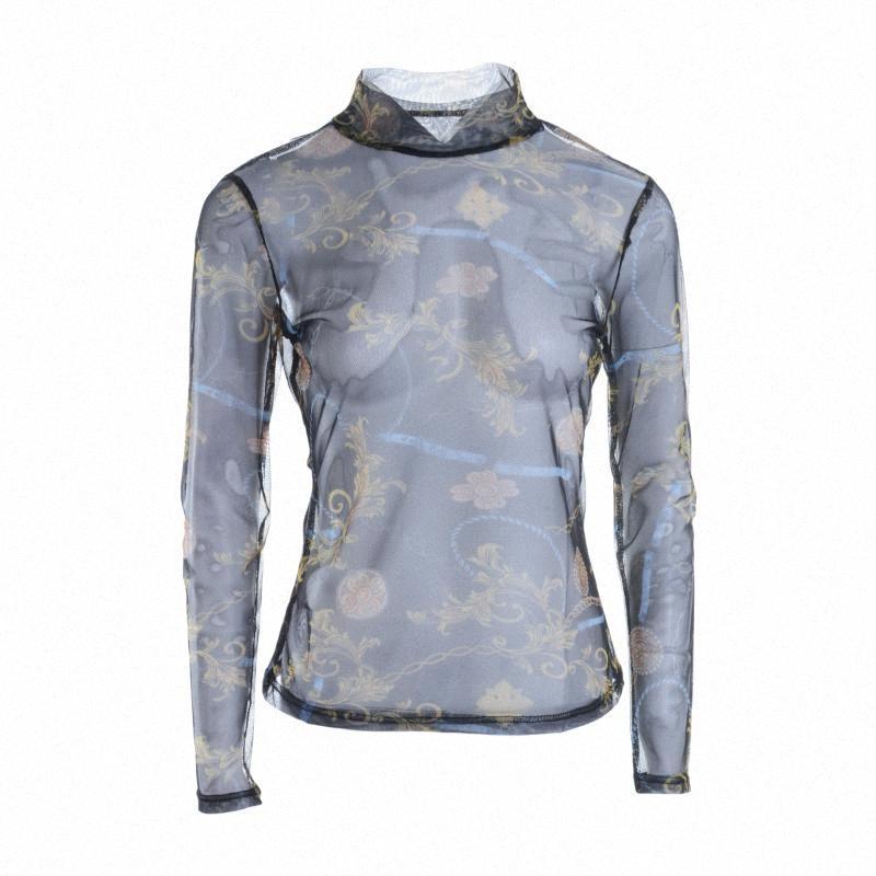 Moda Nueva Perspectiva para mujer T SHIRT Camiseta de manga larga con cordón impreso Clothestop al aire libre VK5L #