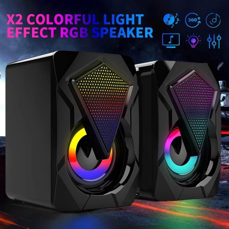 X2 المتحدث الألعاب 6W مركبتي ستيريو الثقيلة باس الموسيقى لاعب aux 3.5 ملليمتر usb السلكية rgb ضوء تأثير سطح المكتب المتكلم pc