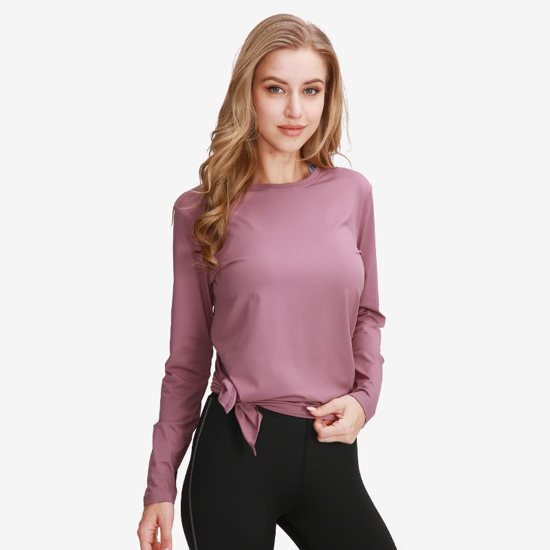 Ropa deportiva para mujer Cultivo de manga larga Top camisa de carrito Gimnasio Fitness Camisa Yoga Camisetas Ropa deportiva