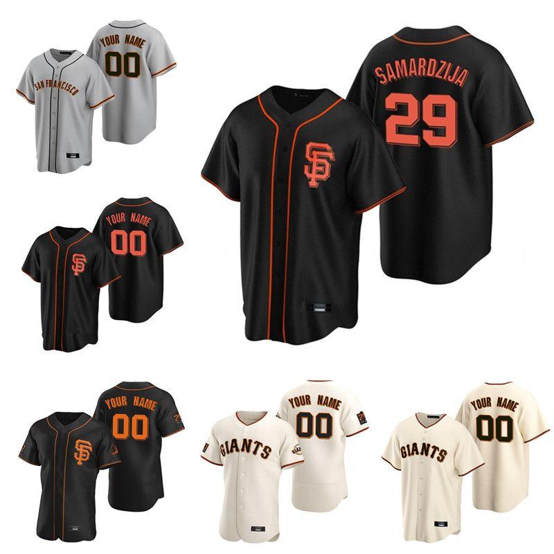 맞춤형 자이언츠 29 Jeff Samardzija San 20 21 Francisco Jersey Johnny Cueto 윌 스미스 McCutchen Yastrzemski Williams Stitched Baseball Jersey