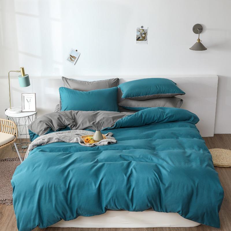 Bettbezug-Set Pure Color Doppel Aloe Baumwoll-Bettwäsche 4PCS Brushed Studenten Home Textile Maxi-Bettwäsche Ensemble De Literie