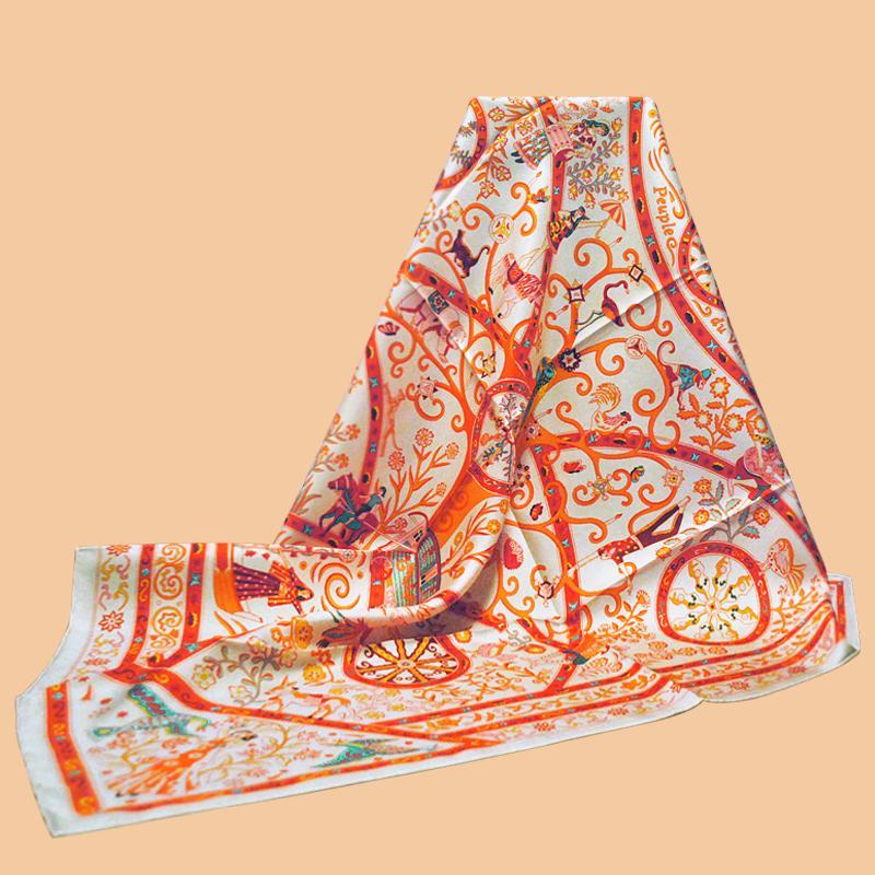 "Huajun 2 Tienda || Deslumbrante ""Peuple du Vent Shawl"" 90 seda cuadrada bufanda swill tinta tinta bufanda hecha a mano curling"