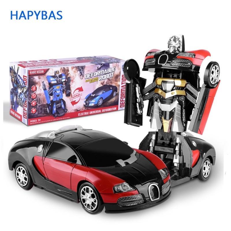 التشوه الالكترونية موسيقى السيارات اللعب بارد ضوء محول روبوت سيارة لعب الكون عجلة متوهجة الاطفال الأطفال هدية Y200428