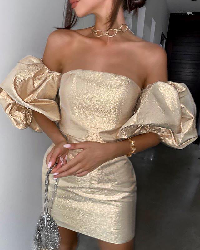 Abiti casual Donne Donne Inverno Moda Sexy Cuffia a maniche a soffio Backless Gold Dress Dress 2021 Elegante festa serale Vestidos1