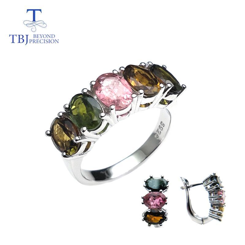 TBJ, natürliche Phantasie Farbe Turmalin Spange Ringe und Ohrringe Set einfaches Design Edelstein 925 Silber für Mädchen mit Geschenk-Box C1005