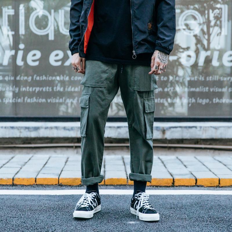 2021 New Hip Hop Cargo Hosen Herren Mode Harajuku Harem Pant Streetwear Casual Joggers Multi-Pocket-Krawatte Füße Männer Hose M-3XL