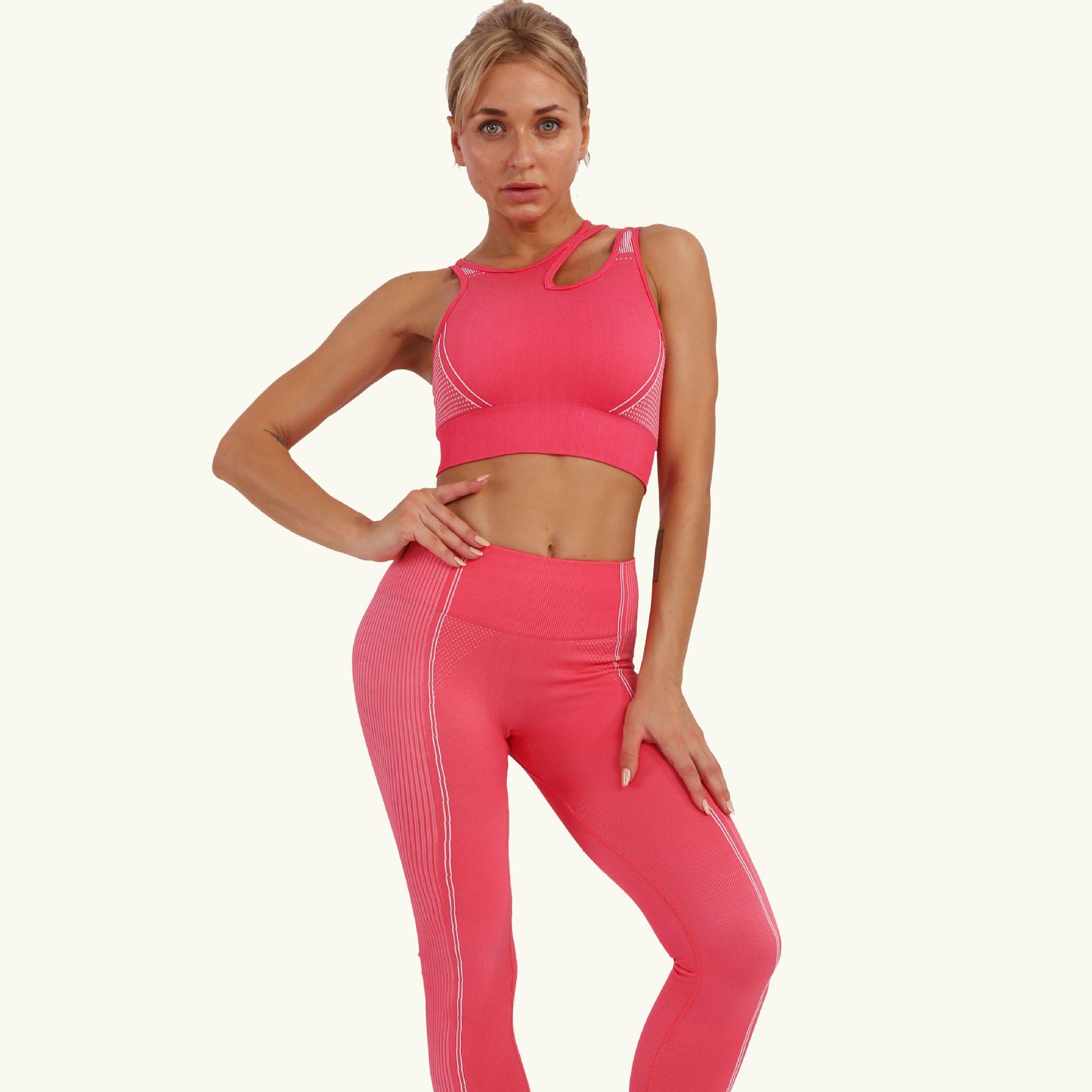 2020 Novo Estilo Amazon Yoga Roupa Terno Feminino Ginásio Roupas Athletic Calças Terno Yoga Sets -Resistant Bra