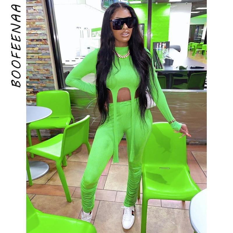 Knitted Stacked Leggings Sports Sexy 2 Piece Set Women Pants and Crop Top Tracksuit