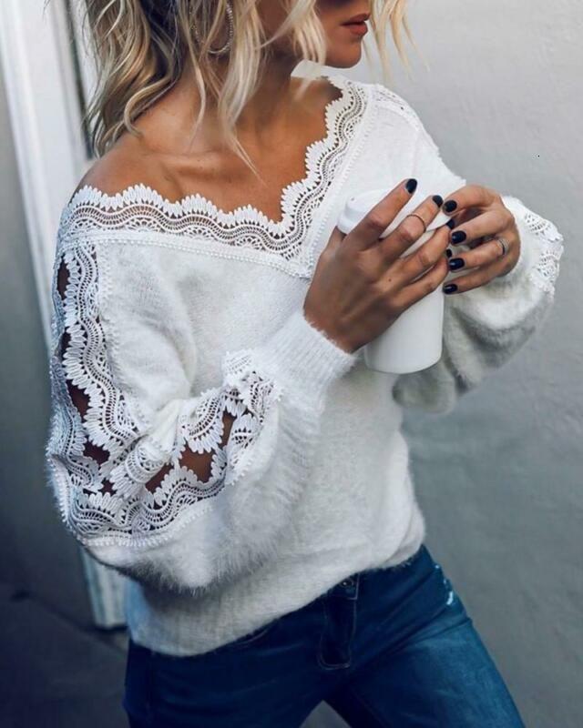 Femme Automne Fashion Nouveaux Mesdames Équipe chaud Col à manches longues Casual Pull Pullover Pull