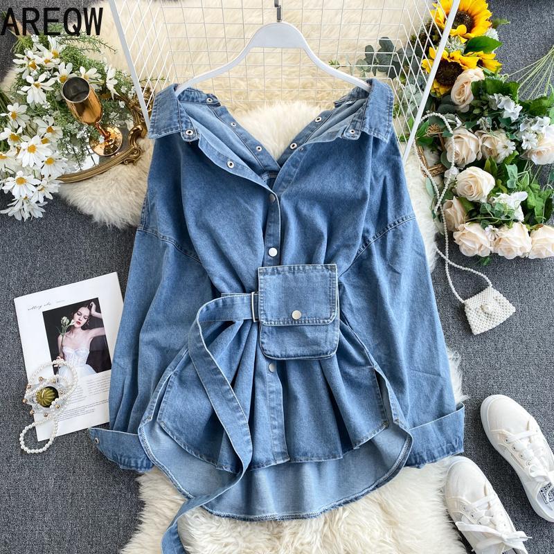 Winter 2020 Jacke Vintage Frauen Schärpen Herbst dünne Taillen-Denim-Jeans-Mantel koreanische Buttons Backless lange Oberbekleidung