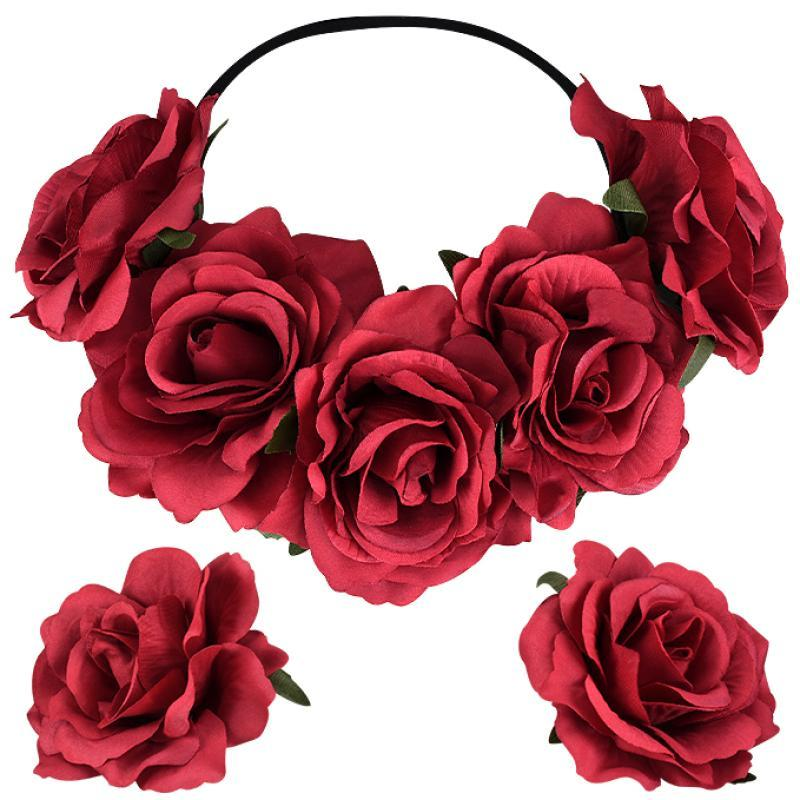 1pcs Fashion Women Red Bride Flower Headband Wedding Party Headhoop 2pcs Boutonniere wrist corsages Hairpin Hair Accessories
