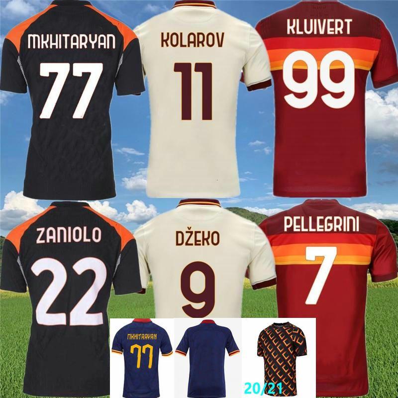 2020 2021 ZANIOLO Soccer Jerseys KOLAROV TOTTI DZEKO PEROTTI KLUIVERT CENGIZ UNDER Custom 20 21 Rome Adult Kids Man Youth Football Shirt