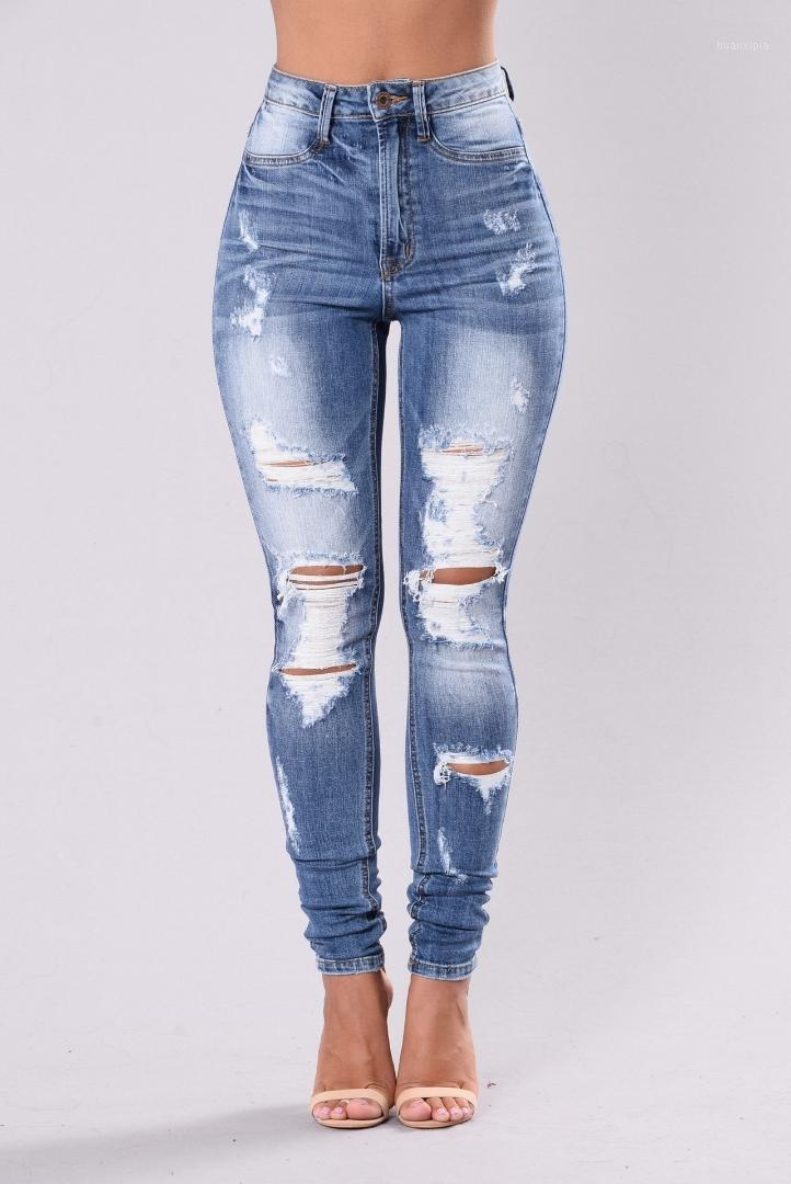 Женские джинсы 2021 мода разорвал тощий женский стиль1