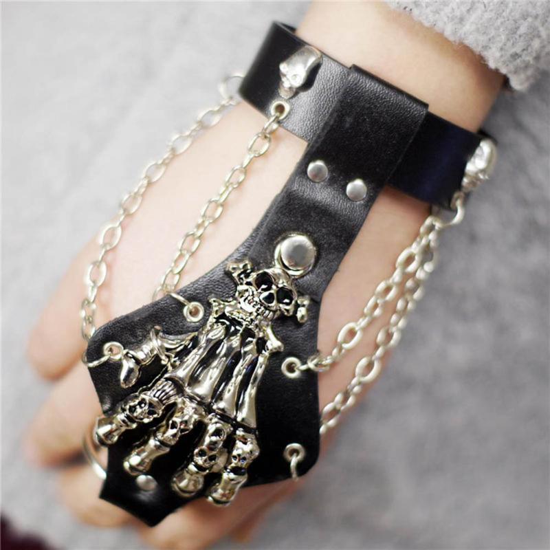 Unisex fresco punk rock gótico esqueleto crânio mão luva link link pulseira pulseira pulseira de couro