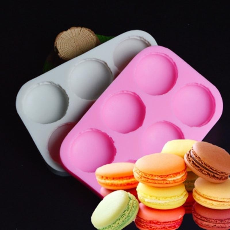 6 trous Macaron Moule en silicone Fondant Moule de moulage à gâteaux Outils de décoration de chocolat K179 T200523