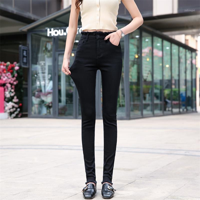Бесплатная доставка женские 2020 джинсы расширенные издание тонкий студент высокоэластичный карандаш штаны1