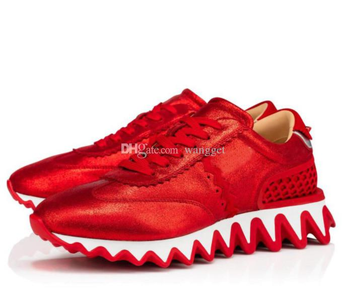 Moda Vermelho Bottom Loubishark sapatos tênis apartamentos para homens, mulheres esportes ao ar livre trainers de passeio ocasional EU35-47 com caixa